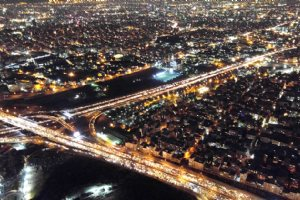 Milad Tower (Borj-e Milad) - a view at night from above the tower