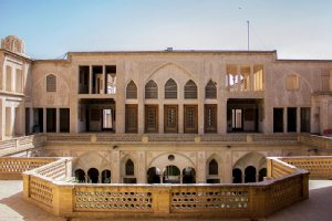 An exterior view of the upper floor of the Abbāsi House - Kashan