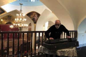 Vartan Vahramian, Iranian painter and composer, at the St. Sarkis Church - Tabriz