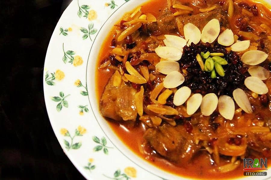 Khoresh Khalal (Almond and Barberry Stew) - Kermanshah traditional foods