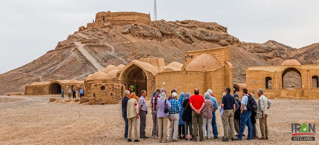 Foreign travellers near Yazd: Tower of Silence