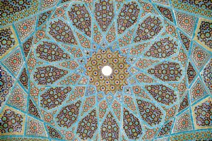 Enamelled tiles mosaic on the ceiling of the pavilion - Hafezieh
