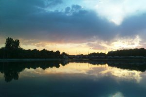 Sunset in Zayandeh Rood River