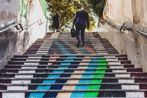 Colorful Stairs of Vali-e-Asr Street - Tehran