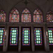 Stained glass work inside the Abbāsi House - Kashan