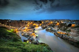 Night view of Shushtar Historical Hydraulic System
