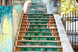 Colorful Stairs in Vali-e-Asr St. - Tehran